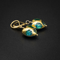 Venetian Murano glass and vermeil gold aqua heart earrings