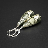 Venetian Murano glass pewter and sterling silver teardrop earrings