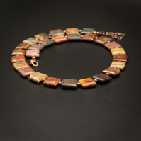 Picasso jasper and copper handmade gemstone necklace, Pisces jewelry