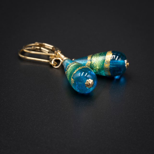 Venetian Murano glass Turquoise and gold band teardrop earrings
