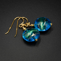 Venetian Murano glass Turquoise and gold band drop coin earrings