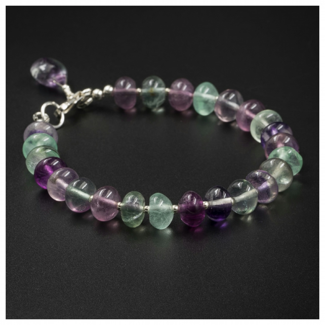 Fluorite and sterling silver gemstone bracelet, Pisces, Capricorn gift