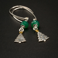 Christmas tree and green onyx drop earrings, Cancer, Leo gift.