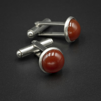 Carnelian and stainless steel cufflinks, Leo, Virgo gift