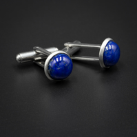 Lapis lazuli and stainless steel cufflinks, Sagittarius, Taurus gift.