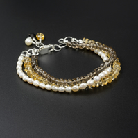 Pearl, citrine and smokey quartz triple strand bracelet