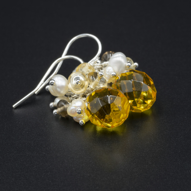 Quartz teardrops, pearl, smokey quartz, citrine and sterling silver earrings