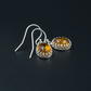 Baltic amber and sterling silver drop earrings, Leo gift