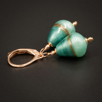 Venetian Murano glass 2 tone aqua and rose gold earrings