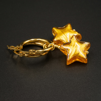 Venetian Murano glass and vermeil gold star drop hoop earrings