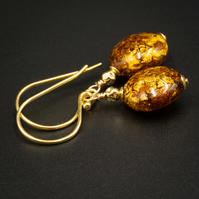 Venetian Murano glass and vermeil gold,copper drop earrings