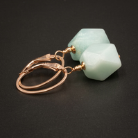 Amazonite and rose gold drop earrings, Virgo jewelry