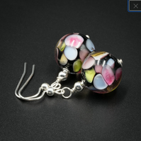 Venetian Murano glass and sterling silver multi colour drop earrings