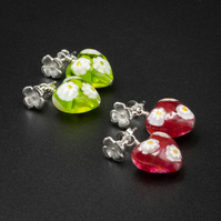 Venetian Murano glass pink or green millefiori daisy heart earrings