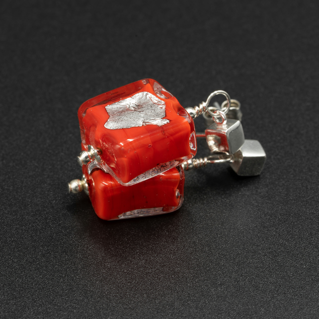 Venetian Murano glass red and silver square stud drop earrings