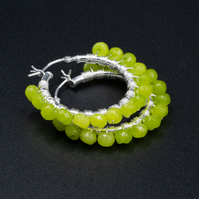 Chartreuse jade sterling silver handmade hoop earrings, Taurus gift