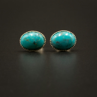 Natural turquoise and sterling silver stud earrings, Turquoise jewellery