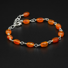 Carnelian and sterling silver link bracelet, Leo, Virgo jewelry
