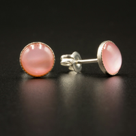 Pink mother of pearl and sterling silver stud earrings