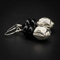 Silver cube and black onyx earrings, Cancer, Leo gift