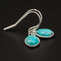 Natural turquoise and sterling silver small drop earrings,Sagittarius jewelry