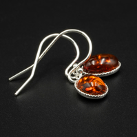 Baltic amber and sterling silver small drop earrings, Leo jewelry