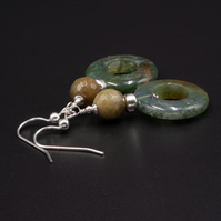 Indian agate natural gemstone drop earrings - Gemini jewelry
