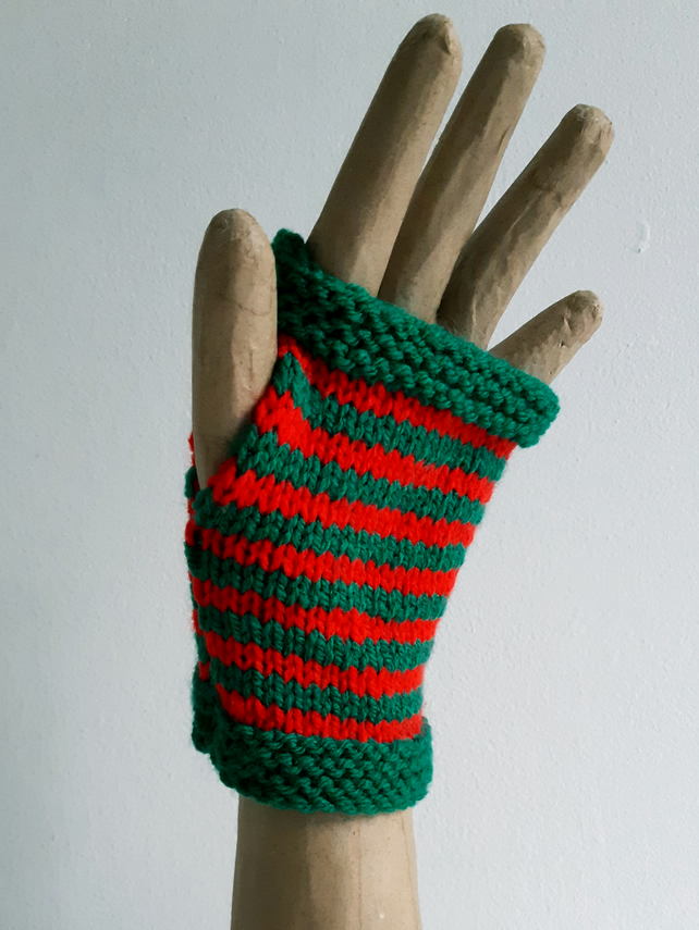 Green and Red Fingerless Gloves