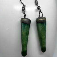 Green Ceramic Bead Dangle Drop Earring