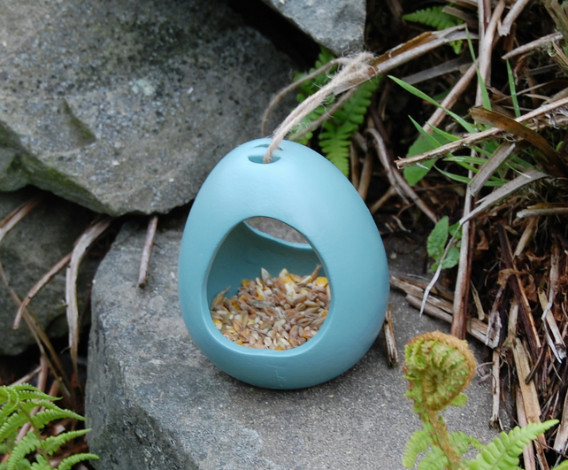 Sea Green Ceramic Wild Bird Seed Feeder