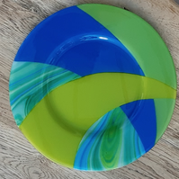 Fused Glass Decorative Shallow Platter