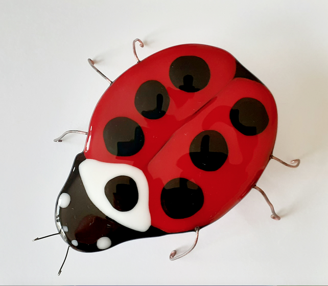 Fused Glass Ladybird Garden Decoration