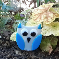 Fused Glass Owl Garden Ornament Plant Pot Stake Decoration, Blue and Grey