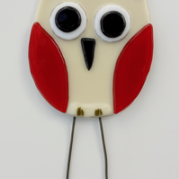 Fused Glass Owl Garden Ornament Plant Pot Stake Decoration, Cream and Red