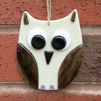 Fused Glass Owl Wall Decoration - Cream and Brown
