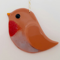 Fused Glass Robin Hanging Decoration