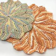 Hand Knit Cotton Dishcloth Bundle of 2