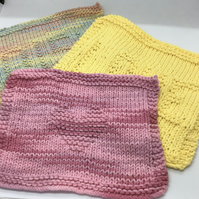 Hand Knit Cotton Dishcloth Bundle of 3