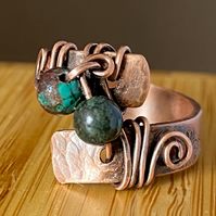 Hammered Copper Ring With Hand Stamped Daisy Print