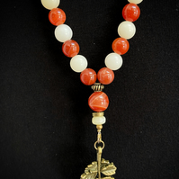 Red Agate and Wood Mala Necklace