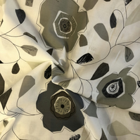 Monochrome Abstract Floral 100% Cotton Fabric - Half Metre