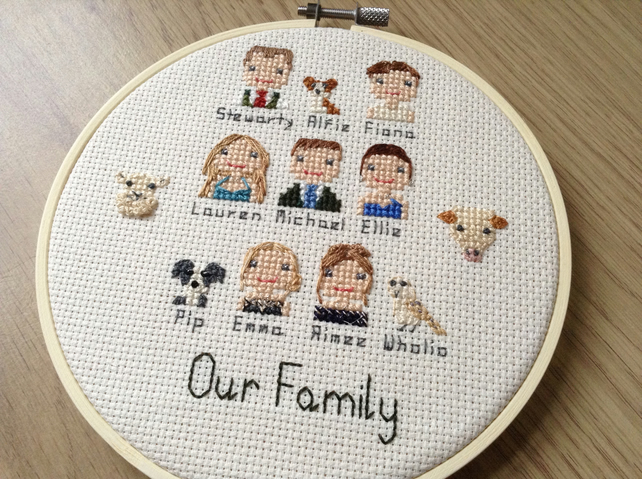 Custom cross stitch family portrait, group portrait, gift for the family