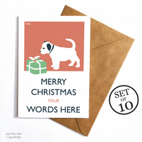 Set of 10 Personalised Vintage Style Puppy Christmas Cards with Envelopes