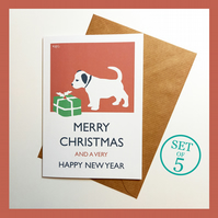 Set of 5 Vintage Style Dog and Gift Christmas Cards with Kraft Envelopes