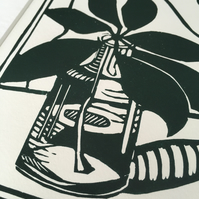 """Little Glass Bottle and Leaf"" Lino Print Still Life"