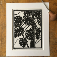 Monstera - Cheese Plant Lino Print (BLACK)