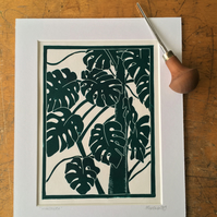 Monstera - Linocut Print (GREEN)