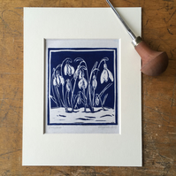 Snowdrops - Little Linocut Print (BLUE)