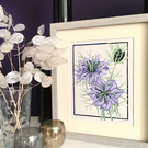 """Love in a Mist"" Lino Print (Purple)"