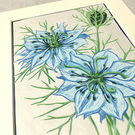 """Love in a Mist"" Lino Print (Blue)"